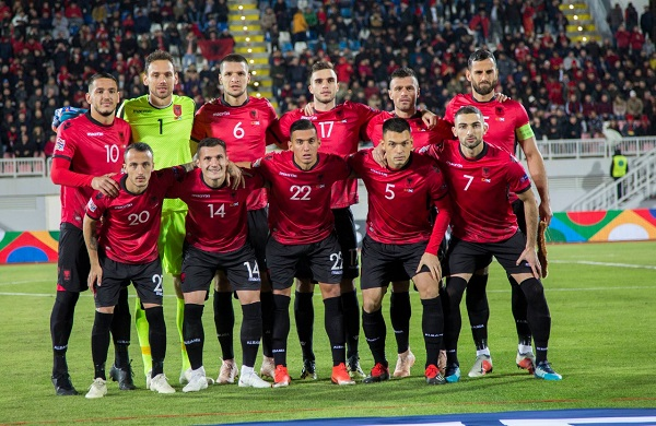 Albania team pose before match