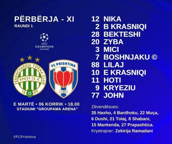 11-shet startuese: Ferencvaros-Prishtina