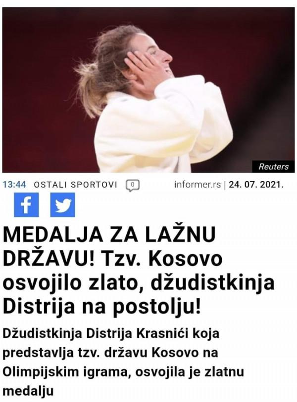 """Mediat serbe: """"Shteti i rrejshëm"""" i Kosovës merr të artën olimpike"""