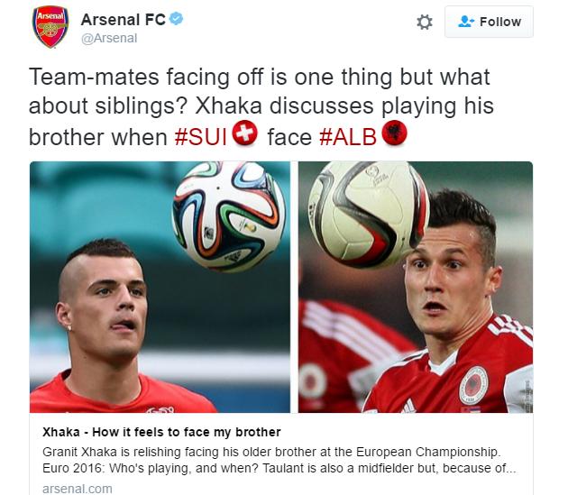 Shqipëri-Zvicër, në faqen zyrtare të Arsenalit