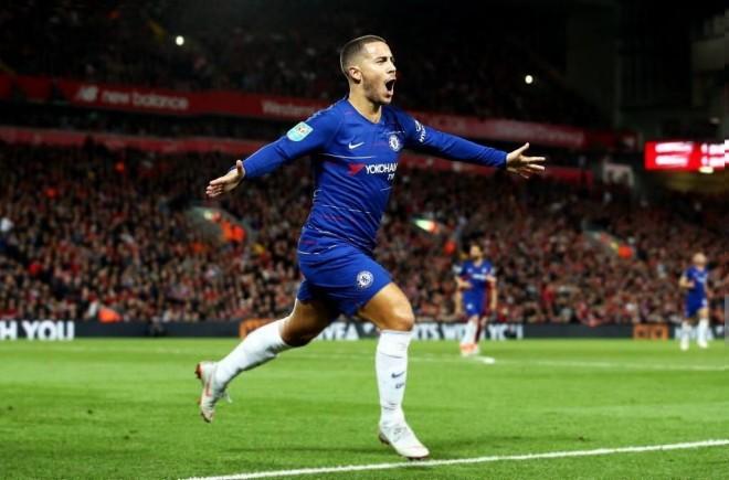 Shaqiri 90 minuta, Hazard eliminon Liverpoolin me një super gol