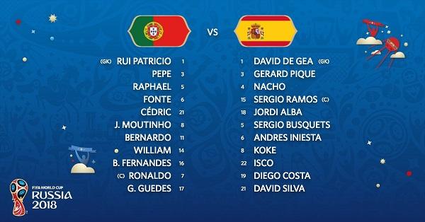 Portugalia - Spanja, startuesit