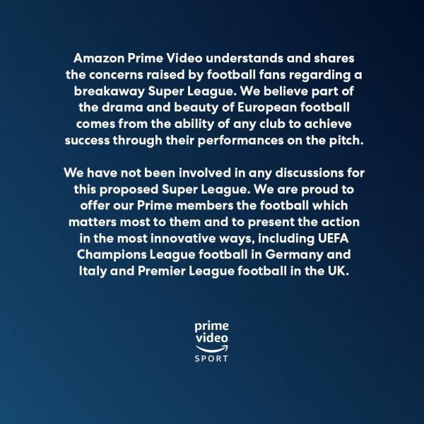 AmazonPrime: Nuk jemi pjesë e Superligës Evropiane