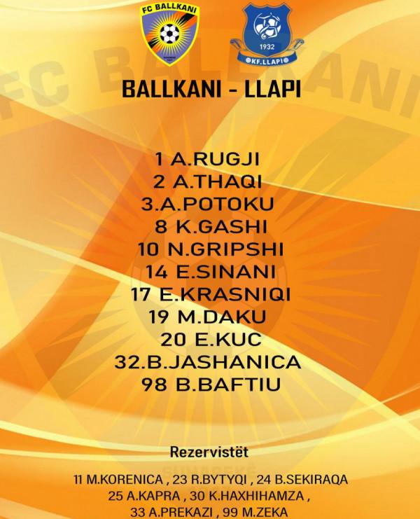 Ballkani-Llapi, 11-shet startuese