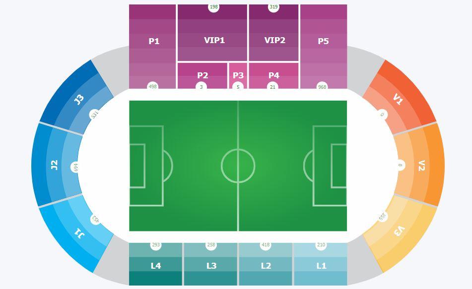 Fadil Vokrri stadium scheme of seats on online ticket sale